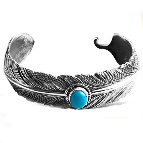 Südwest-motiv (Südwesten Navajo Stil Oval Cabachon erweiterte Türkis Armreif Armbänder für Herren Feder Motiv 925 Sterling Silber)