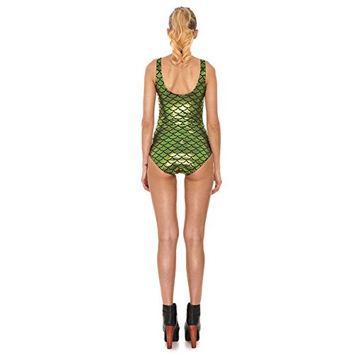 Meijunter Donna Mermaid Fish Scale Printing One-Piece Shiny Costumi Da Bagno LightGreen