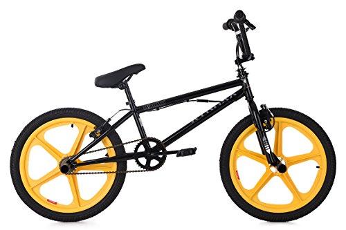 KS Cycling Kinder BMX Freestyle 20'' Xtraxx schwarz mit gelben Mag Wheels Fahrrad, 20 (Mag Wheels Fahrrad)