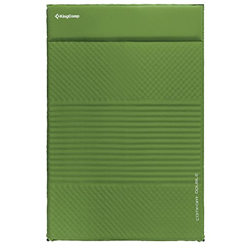 KingCamp Selbstaufblasbare Isomatte Luftmatratze für 2 Personen in Grün/Blau/Beige, PVC-frei