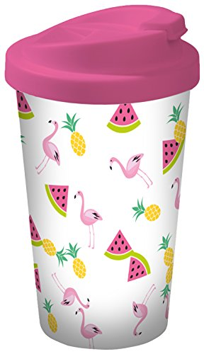 infinite by GEDA LABELS 15934 Flamingo Fruits Coffee to go Gobelet, Plastique, Multicolore, 9 x 9 x 17 cm