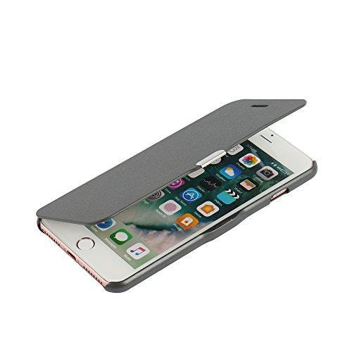 one 8 Hülle, MTRONX Magnetisch Dünn Leder Folio Flip Klapphülle Etui Schutzhülle Tasche Case Cover für Apple iPhone 7 iPhone 8 - Grau(MG-GY) (Magnetische Tasche)