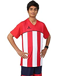 Triumph Men's Polyester Football Red Stripe V Neck Uniform