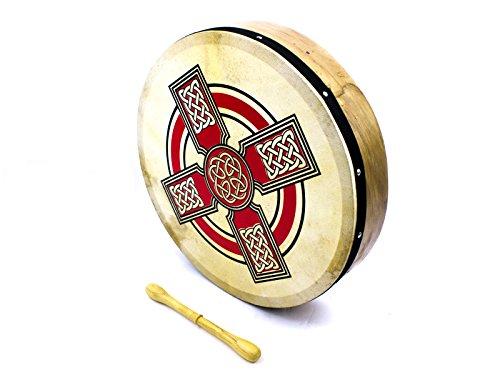 prokussion-red-celtic-cross-design-16-diameter-irish-bodhran-and-beater