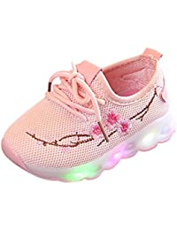 Saingace Baby Toddler Little/Big Kids Girls Mesh Led Light Star Sport Air Casual Flower Lace Up Anti-Slip Sneaker...