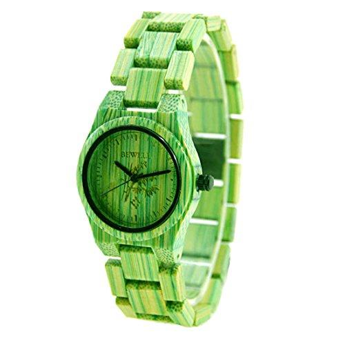 Souarts Damen Holzuhr Holzarmbanduhr Analog Quraz Damenuhr aus Bambus Armbanduhr Analog mit Batterie Grün (Jugendliche Andenken)