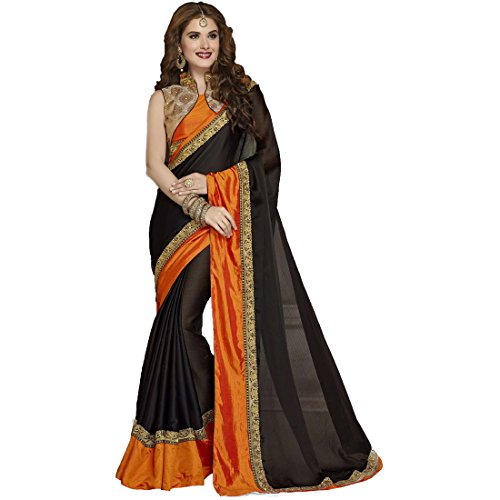 Tagline Georgette Saree With Blouse Piece (Tag51124_Black_Free Size)