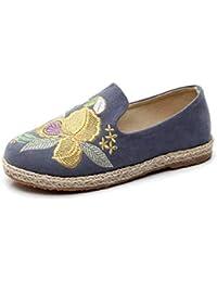 YOPAIYA Alpargatas Alpargata De La Mujer Azul Patrón De Flor Zapatos Bordados Zapatillas Cómodas para Mujer