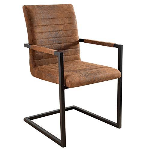 Invicta Interior Freischwinger Stuhl LOFT Vintage braun mit Armlehne Schwingerstuhl Esszimmer Stuhl