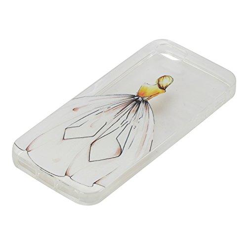 Coque iPhone 5S TPU Bumper Cover,Coque iPhone 5S Case Transparent Slim,Slynmax Cristal Clair Ultra Mince Légère Etui Mode Coloré Motif avec Animal et Fille Couverture Antichoc Anti Scratch Souple Shel Arrière