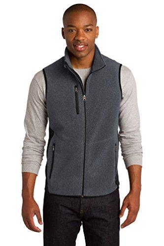 Port Authority Herren Polyester Pro Fleece Full Zip Weste Gr. X-Large, Charcoal Heather/ Black (Weste Fleece Full-zip)