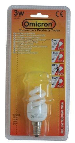 Omicron Energiesparlampe, T2, 3 W, kompakt, fluoreszierendes Licht, Spiralform, kleines Edison-Gewinde -