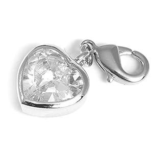 Collangé Jewelry Charms Anhänger für Bettelarmband Herz mit weißem Strass 0138-04