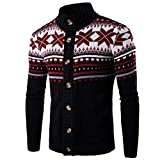 Longra Herren Strickjacke Cardigan Warm Strickmantel Sweater Pulli Herren Winter Pullover Weihnachtspullover Strick Jacken Thickes Wintermantel Winterpulli Strickwaren Outwear (M, Schwarz)