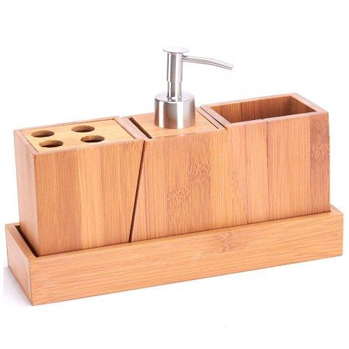 MSV Badezimmerzubehör-Set 3 teilig mit Seifenspender und Zahnbürstenhalter aus Bambus und Edelstahl Bad Accessoires Set