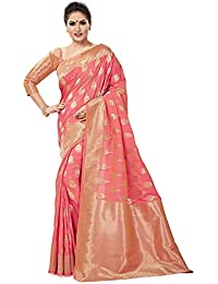 Soru Fashion Women's Pure Banarasi Art Silk Light Pink Saree with Blouse Piece (Cott-668_Multi-Coloured)