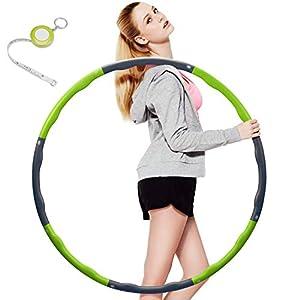 Fitness Hula Hoop zur Gewichtsreduktion,Reifen mit Schaumstoff Gewichten Einstellbar Breit 48–88 cm beschwerter Hula-Hoop-Reifen für Fitness (4 Knoten Grün + Grau) mit Mini Bandmaß