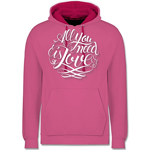 Statement Shirts - All you need is love Lettering - Kontrast Hoodie Rosa/Fuchsia