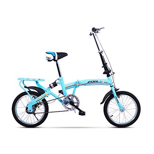 XQ Faltrad Fahrrad Ultraleicht Mini Unterschiedliche Geschwindigkeit Dämpfung 20 Zoll Erwachsene Kinderfahrrad ( Farbe : Blau , größe : Single speed )