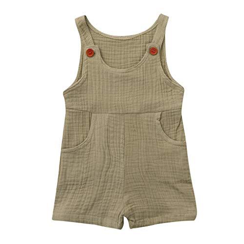 nd Neugeborenen Kinder Baby Jungen Mädchen Einfarbig Spielanzug Overall Kleidung (Khaki 1,70) ()