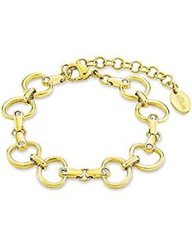 S.Oliver Damen-Armband Edelstahl teilvergoldet Glas weiß - 525145