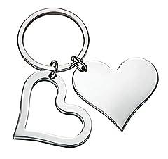 Idea Regalo - Ten Portachiavi cuore doppio - cod. EL5572 - Lun.7 cm - Lar.4 cm - Alt.0,5 cm by Varotto & Co.