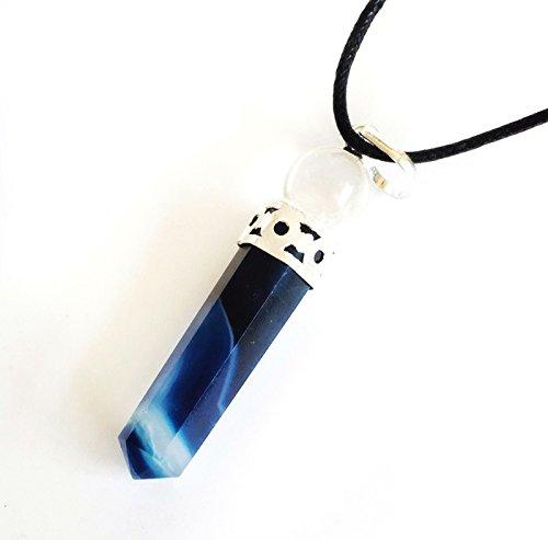 Quarz Halskette Kristall Klar (Reiki Energie geladen blau Chalcedon Kristall Anhänger mit Bergkristall klar Kugel (Wunderschön als Geschenk verpackt))