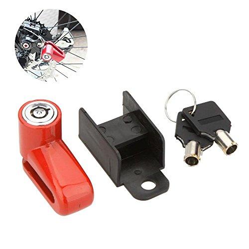 Aolvo Bike Lock, antifurto di sicurezza di sicurezza bici robusta ruota freno a disco rotore serratura con chiavi e Mount, Portable Bike Lock for Beach Cruiser Trek Dirt bike scooter MTB BMX moto triciclo, Red