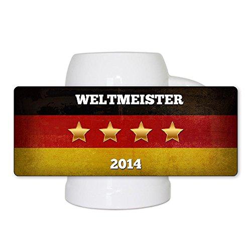Fussball-Bierkrug Weltmeister 2014 mit Flagge, Text und vier Sternen mit Jahreszahl - Fan-Bierkrug - Deutschland-Krug - Bier-Humpen (Fußball-krug)