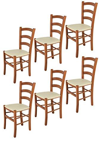 Tommychairs 6er Set Stühle Venice robuste Struktur aus lackiertem Buchenholz im Farbton Kirschbaum und Sitzfläche mit Kunstleder in der Farbe Elfenbein bezogen. Set bestehend aus 6 Stühlen Venice (Stühle Esszimmer Kirschbaum)