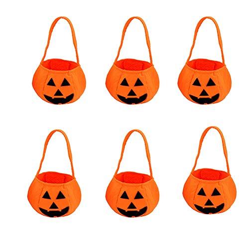 BAIVIT Kürbis-Halloween-Süßes Oder Saures-Beutel-Traditionelles Halloween-Süßigkeits-Taschen-Kind-Nichtgewebtes Handtaschen-6 Stück-Set,Yellow6pcs (Treat Halloween Trick Or Körbe)