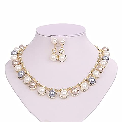 Moochi 18K Gold Plated Pearl Beads Curve Pedant Necklace Earrings Jewelry Set Shinning Luxury Costume Show Wedding Party
