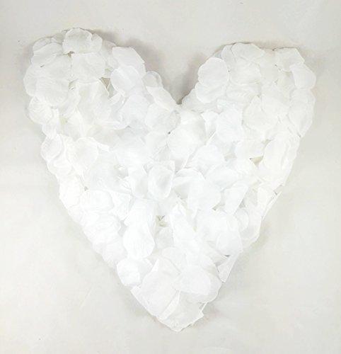 1000 weiße Rosenblätter, Stoff, reinweiß, gepackt zu 2x500 Stück - Hochzeitsdeko, Taufe, Kommunion, Konfirmation, Valentinstag, Heiratsantrag, Streudeko, Romantisch, Basteln, weiss, künstliche Blütenblätter