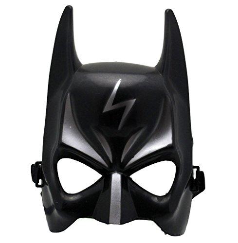 Coole Kindermaske in Schwarz Silber mit Blitz Fasching Karneval (Anzug Batman Dark Knight)