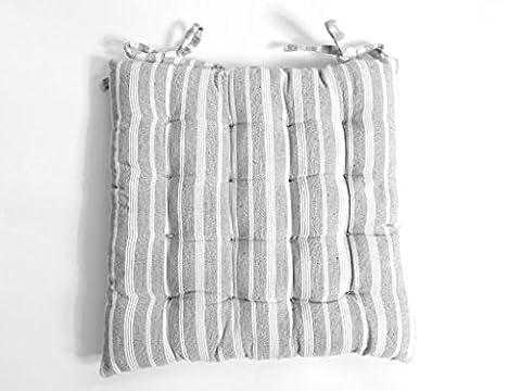 Soleil d'ocre Cotonnade Dessus de Chaise Capitonné Jacquard Polyester Coton Gris Clair 40 x 40 x 5