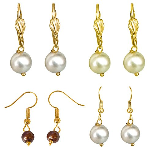 Surat Diamonds Combo of 4 Yellow, White and Brown Shell Pearl & Gold Plated Wire Dangle & Drop Earrings For Women (H1879)  available at amazon for Rs.99