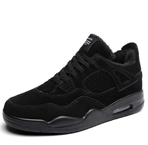 Zxcer Herren Winter High Top Mode Sneaker Pelz Gefüttert Skate Schuhe Outdoor Sport Warme Knöchel Schnee Stiefel (Farbe : Black Plus Velvet, Größe : 42 EU) -