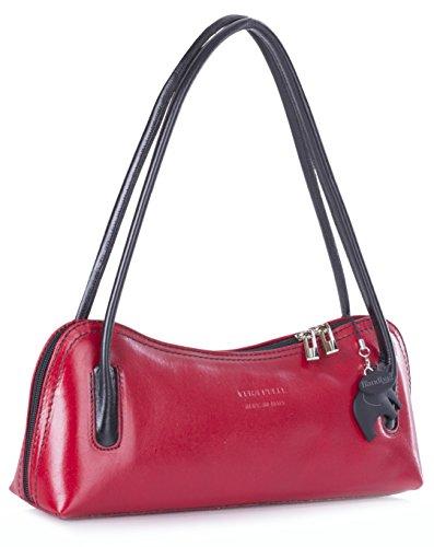 Big Handbag Shop ,  Damen Tornistertasche , rot - Red - Black Trim - Größe: Einheitsgröße