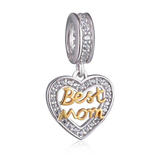 Beste-Freunde-Herzanhänger, 925-Sterling-Silber, passend für Pandora-Armbänder und Halsketten. Mom gold