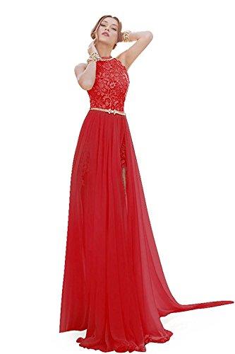 Babyonline Damen Hochzeitskleid mit Spitzen , lang elegant Abendkleider Rot