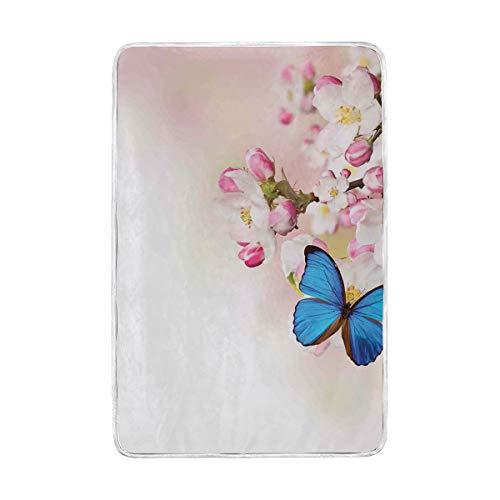HARXISE inBlue Schmetterling auf Frühlings-Kirschblüten-japanischer Blumen-weißer rosa Obstgarten-Natur,Decke Vier Jahreszeiten,Weich,Warm,Kristallvlies,Arktischer Samt,Leicht,Nickerchen Decke