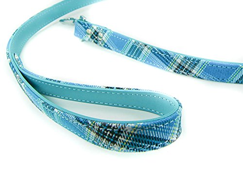 MASSIVE-SALE-Pet-Palace-Tartan-Plaid-fabric-Dog-Lead-for-dogs-proud-of-their-heritage-BLUE