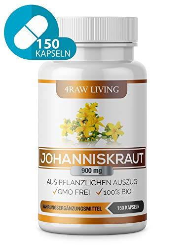 Johanniskraut-Extrakt - 150 Kapseln - Bio Hochdosiert 900 mg +0,3% Hypericin und Hyperforin, St...