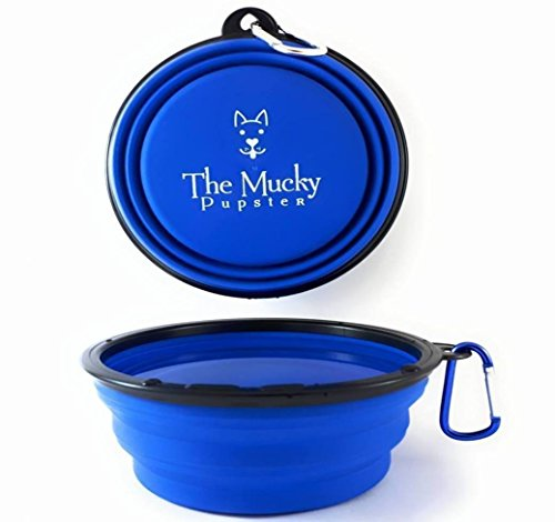Mucky Pupster -Collapsible Travel Dog Bowl – Now With A Water Bottle Holder – Premium Large 7 Inch Bowl – New Reinforced Rim – Clever Fold Away Design – Light & Strong – Great Portable Bowl For Quenching Your Dogs Thirst When On A Walk