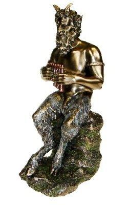 Effekt-Statue / Standfigur, Pan der gehörnte und bockfüßige Gott, bronzefarben