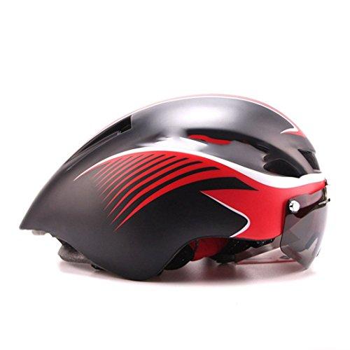 HELMEGOS Triathlon MTB Rennrad Helm Fahrrad Integrally-Molded aerodynamische Sport Radfahren mit Brille Casco Ciclismo Schwarz Rot