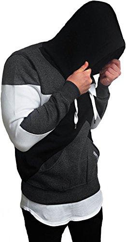 OVERSIZE HOODIE pullover longsleeve shirt Long lang Longshirt camouflage Swag Herren Strick Sweatshirt hip hop Sweat Jacke weiß schwarz langes Kapuzenpullover Sweatjacke Pulli langarm hoody sweater Anthrazit / Schwarz / Weiß