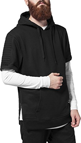 Urban Classics Herren Sweatshirt Kapuzenpulli Short Sleeve Side Zipped Hoody schwarz (Schwarz) Small -
