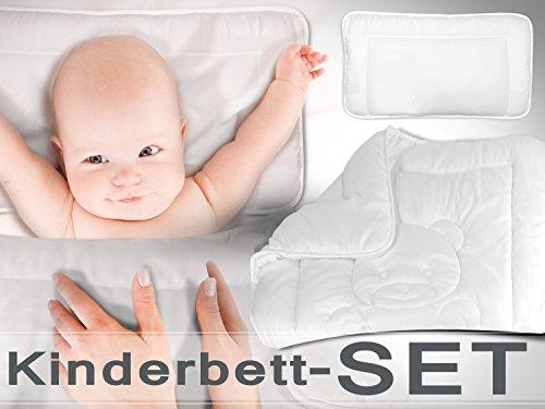 Bettenset für Kinder - kindgerechtes Design mit Teddy - Set mit Bettdecke ca. 100 x 135 cm & Kopfkissen ca. 40 x 60 cm - samtweich und kuschelig - in geprüfter Qualität