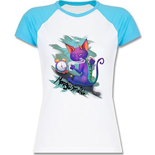 Statement Shirts - Morgenmuffel - zweifarbiges Baseballshirt / Raglan T-Shirt für Damen Weiß/Türkis